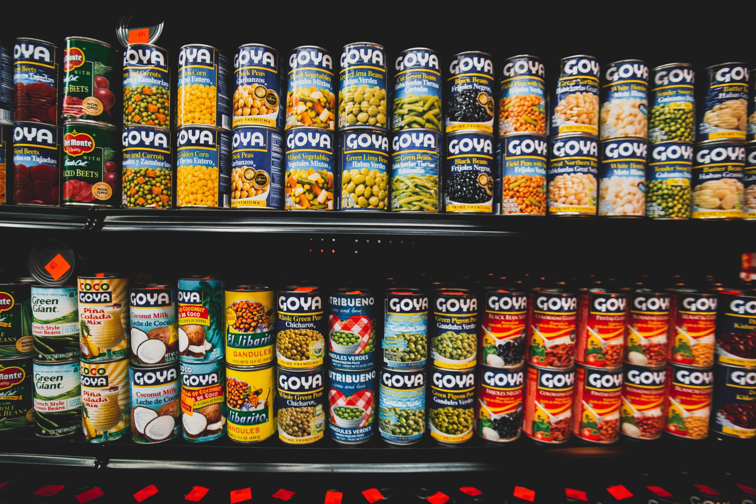 Picture of cans on a shelf