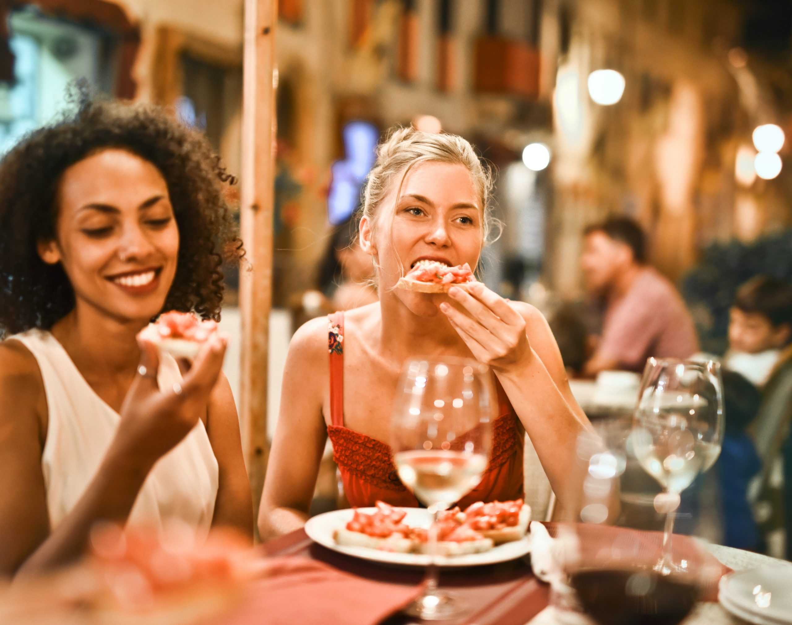 woman eating in a resturant
