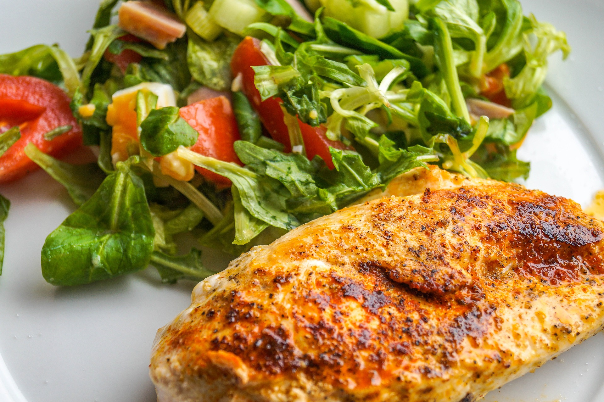 chicken breast fillet with salad