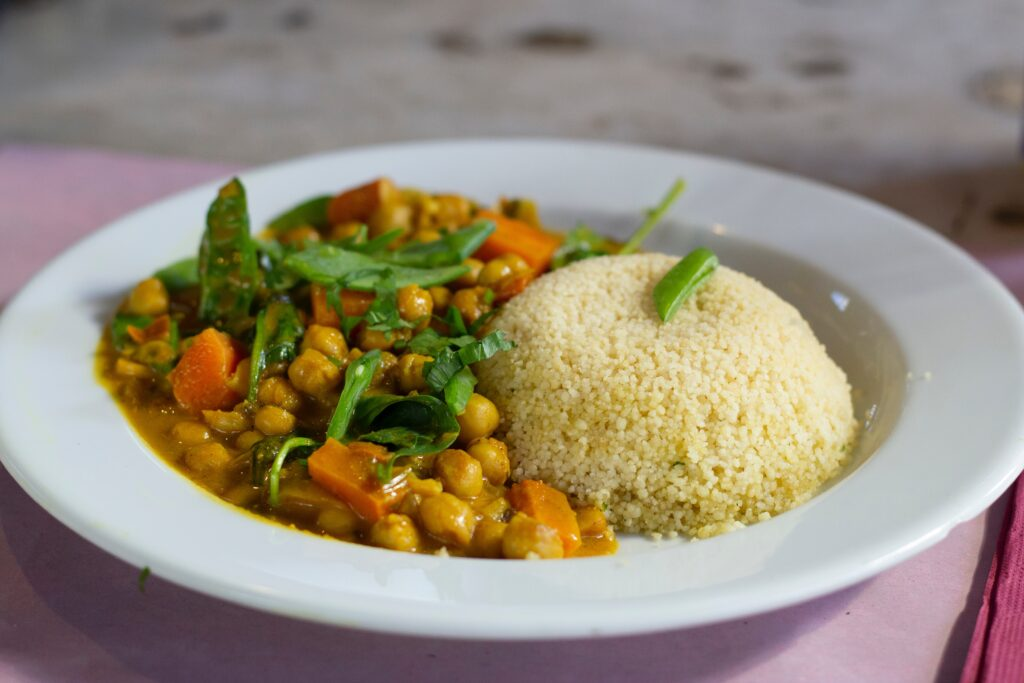 chickpea curry and couscous
